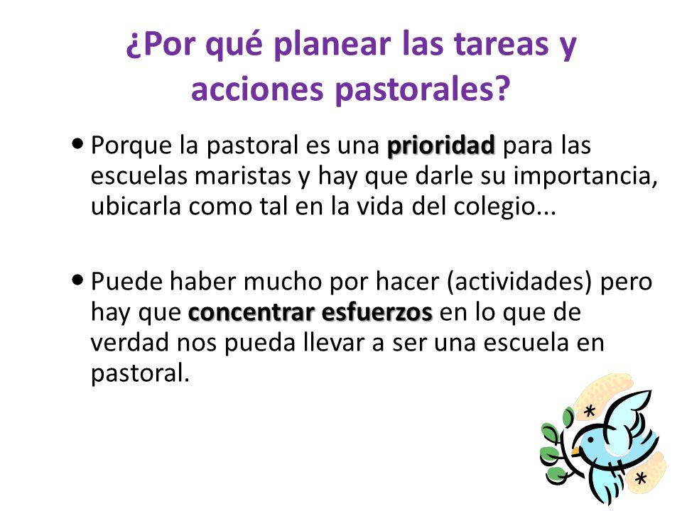 ¿Por qué planear las tareas y acciones pastorales? prioridad Porque la pastoral es una prioridad para las escuelas maristas y hay que darle su importa