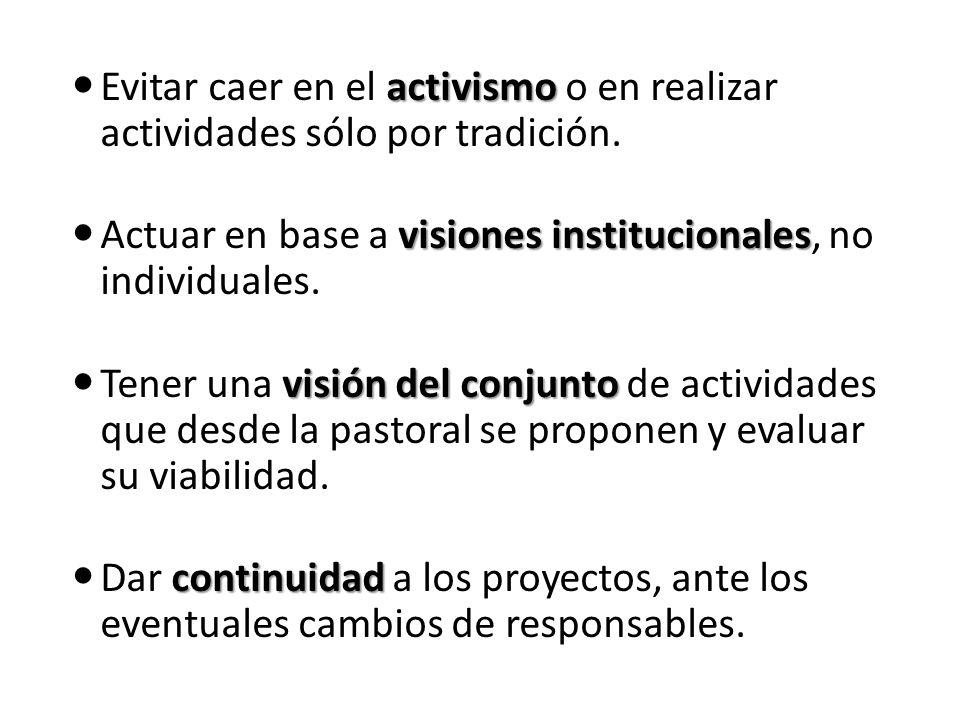 Elementos de un plan de trabajo Objetivo general y particulares Alineación (con la estratégica y con el PPP) Procesos pastorales Subprocesos (tareas) Actividades genéricas Indicadores Entregables o evidencias Cumplimiento Responsable(s) Gastos previsibles (presupuesto) Ver formato