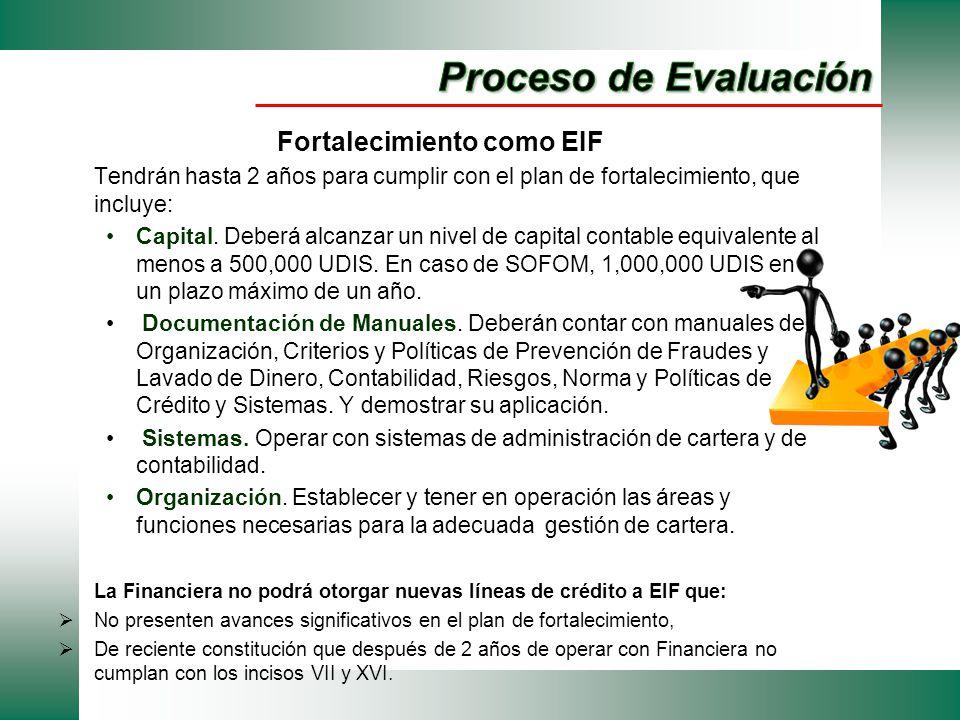 Fortalecimiento como EIF Tendrán hasta 2 años para cumplir con el plan de fortalecimiento, que incluye: Capital. Deberá alcanzar un nivel de capital c