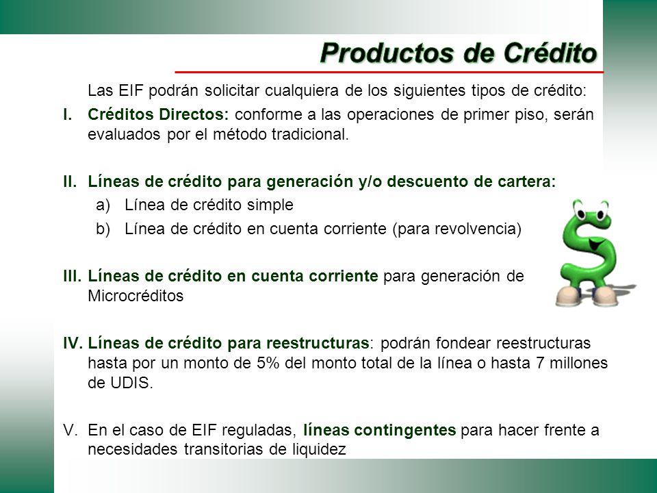 Las EIF podrán solicitar cualquiera de los siguientes tipos de crédito: I.Créditos Directos: conforme a las operaciones de primer piso, serán evaluado