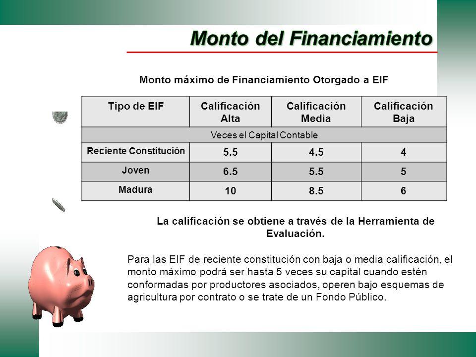 Monto máximo de Financiamiento Otorgado a EIF Tipo de EIFCalificación Alta Calificación Media Calificación Baja Veces el Capital Contable Reciente Con