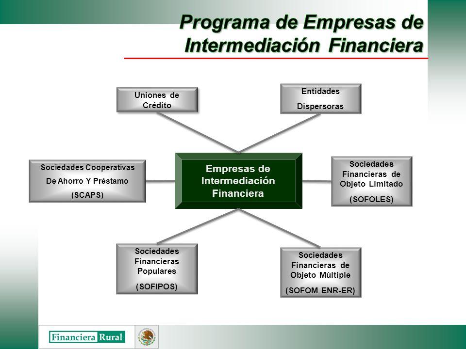 Empresas de Intermediación Financiera Uniones de Crédito Sociedades Financieras Populares (SOFIPOS) Sociedades Cooperativas De Ahorro Y Préstamo (SCAP