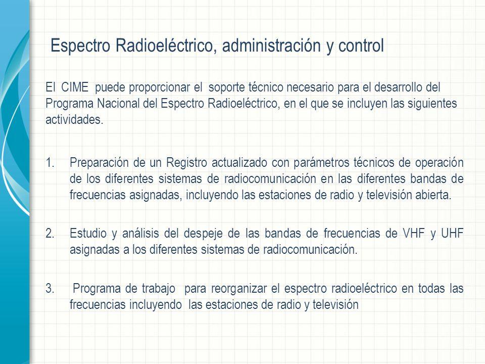 Espectro Radioeléctrico, administración y control El CIME puede proporcionar el soporte técnico necesario para el desarrollo del Programa Nacional del Espectro Radioeléctrico, en el que se incluyen las siguientes actividades.