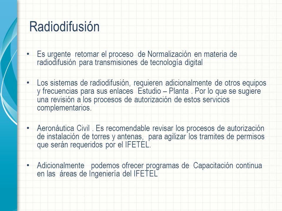 Radiodifusión Es urgente retomar el proceso de Normalización en materia de radiodifusión para transmisiones de tecnología digital Los sistemas de radiodifusión, requieren adicionalmente de otros equipos y frecuencias para sus enlaces Estudio – Planta.