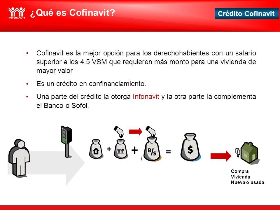 Crédito Cofinavit ¿Qué es Cofinavit? Cofinavit es la mejor opción para los derechohabientes con un salario superior a los 4.5 VSM que requieren más mo