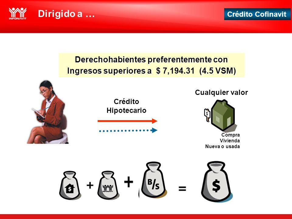Crédito Cofinavit Derechohabientes preferentemente con Ingresos superiores a $ (4.5 VSM) Derechohabientes preferentemente con Ingresos superiores a $