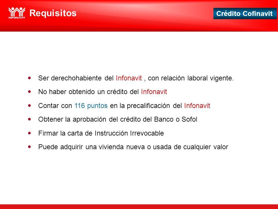 Crédito Cofinavit Requisitos Ser derechohabiente del Infonavit, con relación laboral vigente. No haber obtenido un crédito del Infonavit Contar con 11