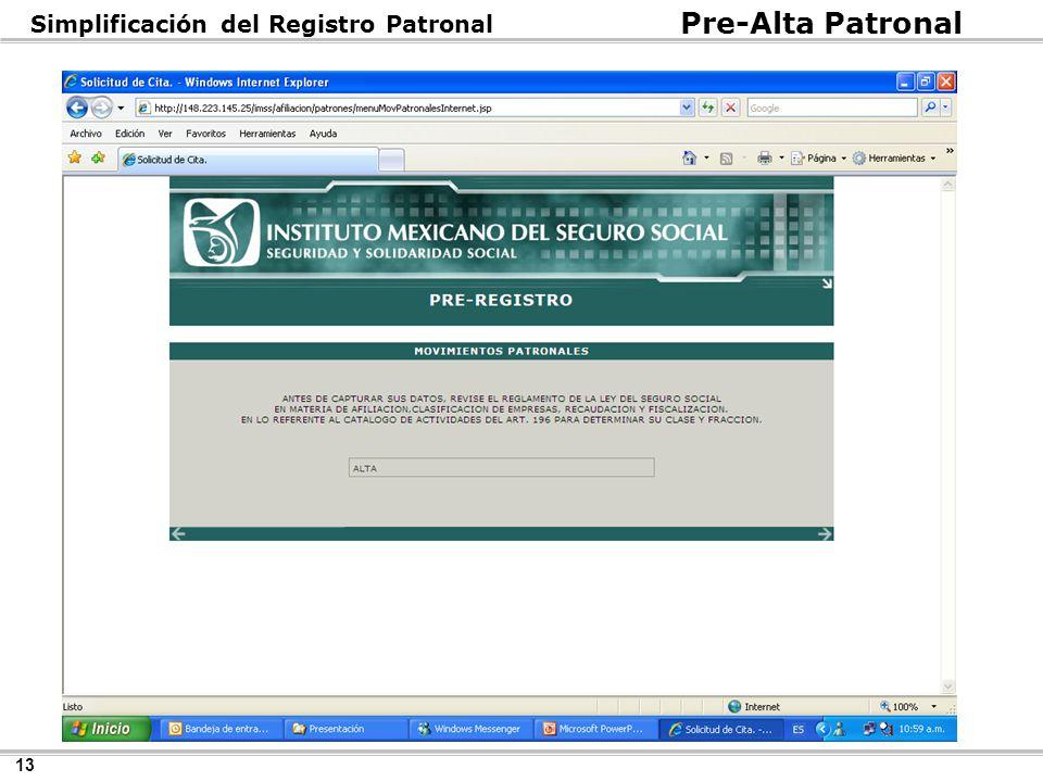 13 Pre-Alta Patronal Simplificación del Registro Patronal