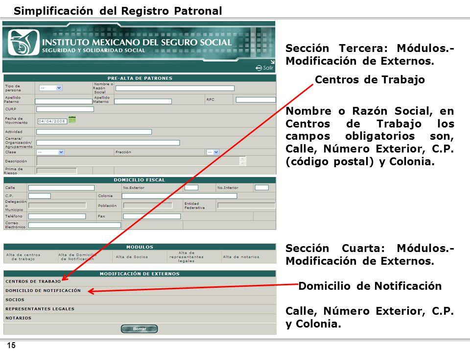 15 Simplificación del Registro Patronal Sección Tercera: Módulos.- Modificación de Externos.