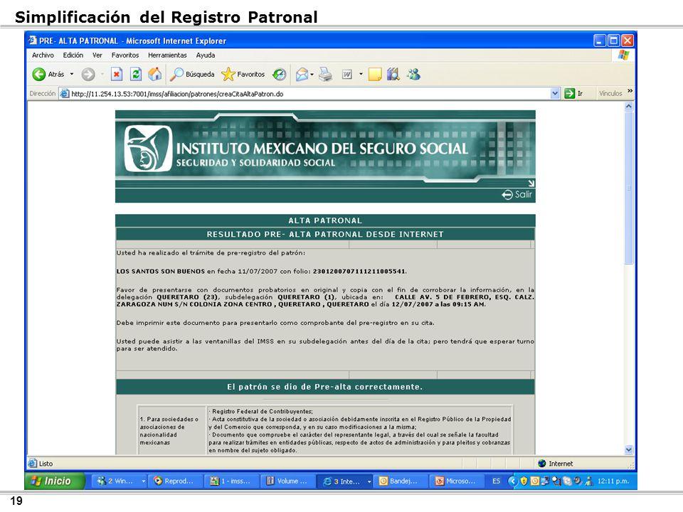 19 Simplificación del Registro Patronal