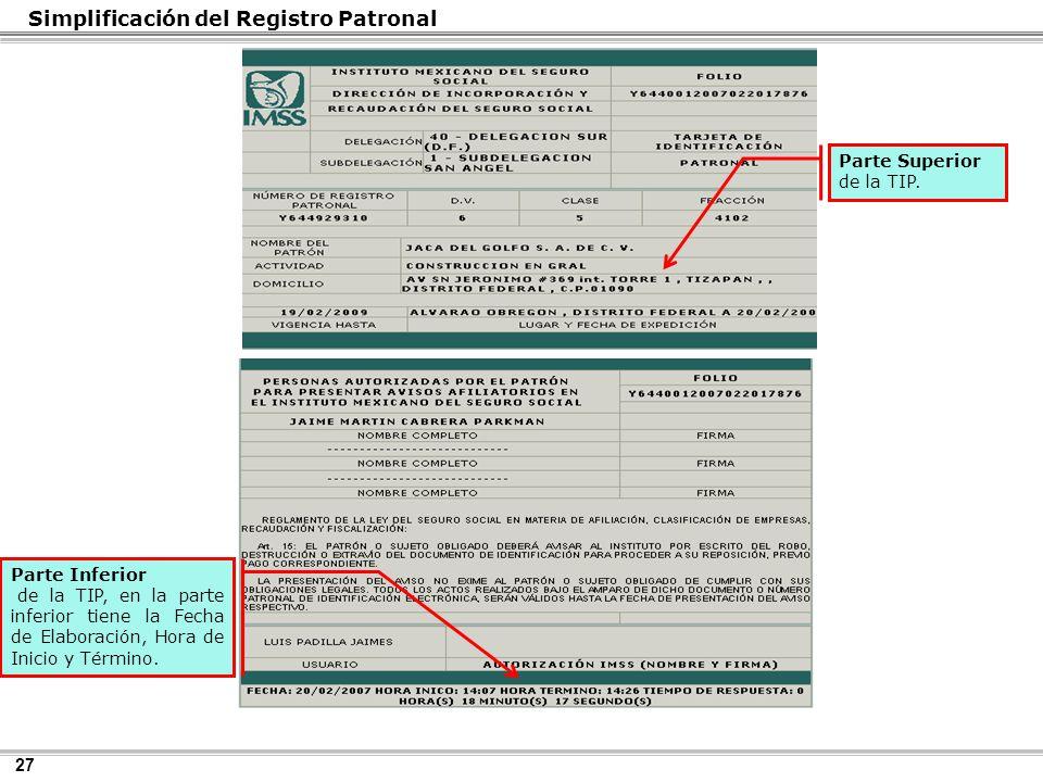 27 Simplificación del Registro Patronal Parte Superior de la TIP.