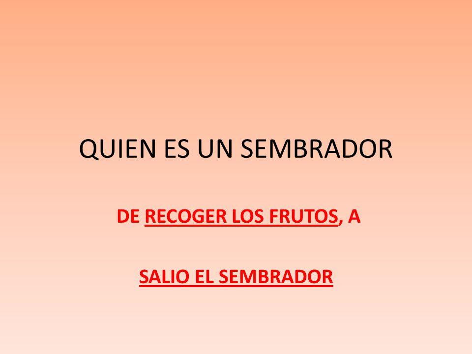 QUIEN ES UN SEMBRADOR DE RECOGER LOS FRUTOS, A SALIO EL SEMBRADOR