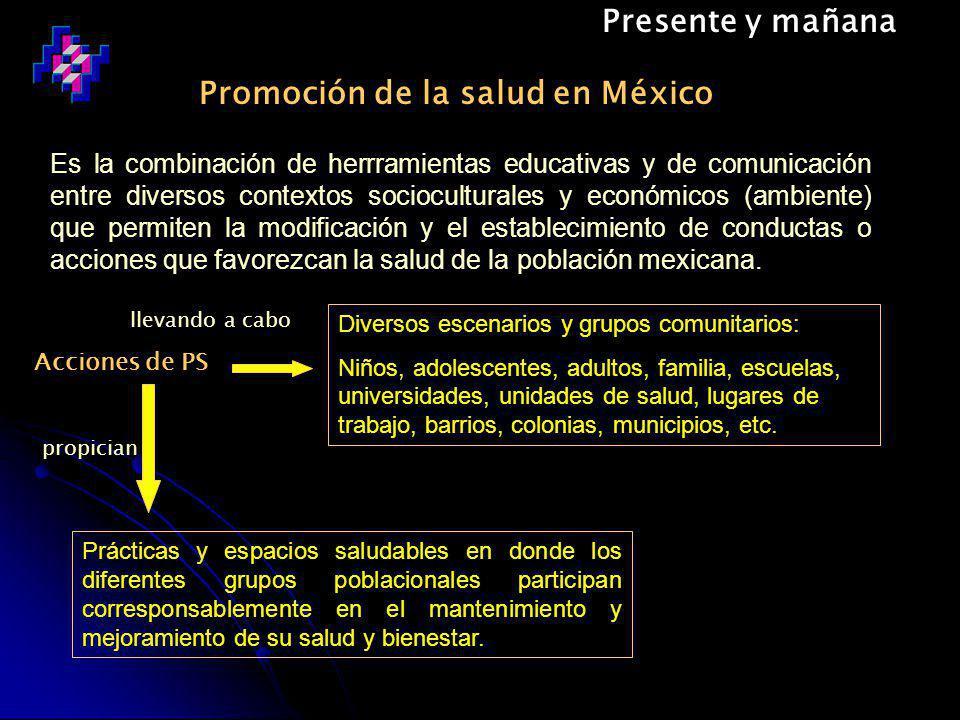Presente y mañana Es la combinación de herrramientas educativas y de comunicación entre diversos contextos socioculturales y económicos (ambiente) que permiten la modificación y el establecimiento de conductas o acciones que favorezcan la salud de la población mexicana.