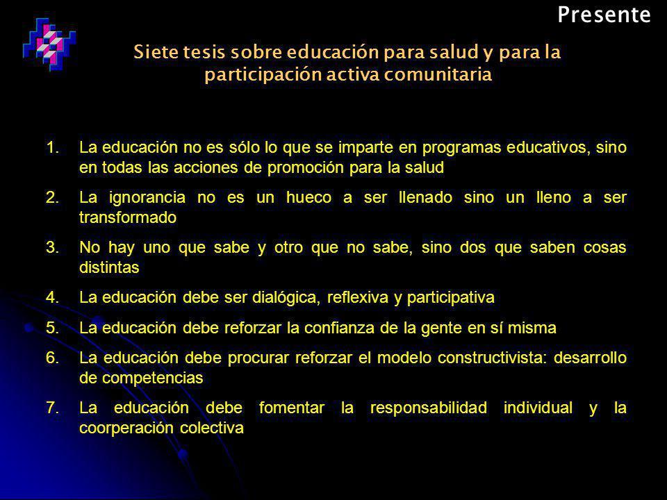 Siete tesis sobre educación para salud y para la participación activa comunitaria Presente 1.La educación no es sólo lo que se imparte en programas educativos, sino en todas las acciones de promoción para la salud 2.La ignorancia no es un hueco a ser llenado sino un lleno a ser transformado 3.No hay uno que sabe y otro que no sabe, sino dos que saben cosas distintas 4.La educación debe ser dialógica, reflexiva y participativa 5.La educación debe reforzar la confianza de la gente en sí misma 6.La educación debe procurar reforzar el modelo constructivista: desarrollo de competencias 7.La educación debe fomentar la responsabilidad individual y la coorperación colectiva