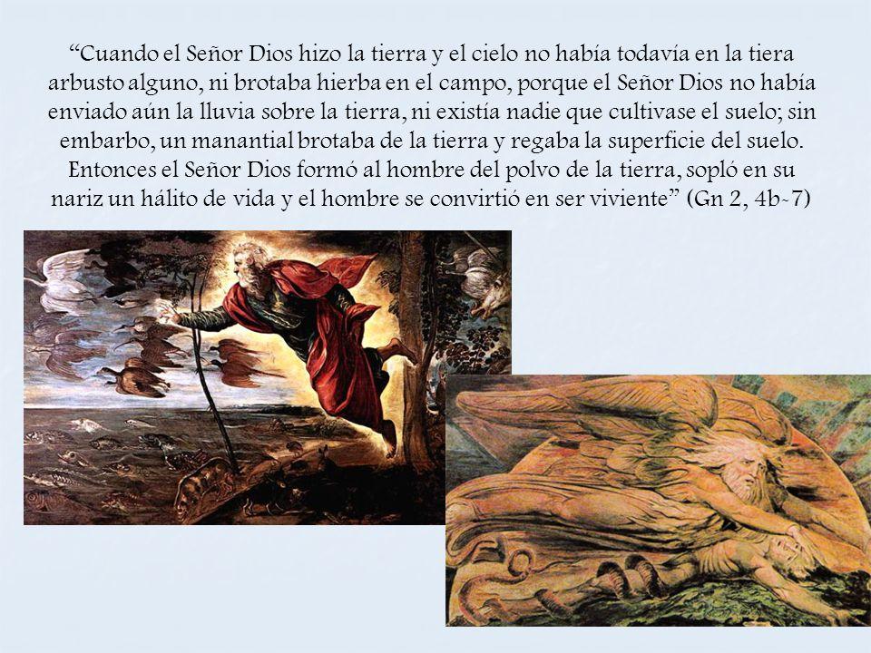 Cuando el Señor Dios hizo la tierra y el cielo no había todavía en la tiera arbusto alguno, ni brotaba hierba en el campo, porque el Señor Dios no hab