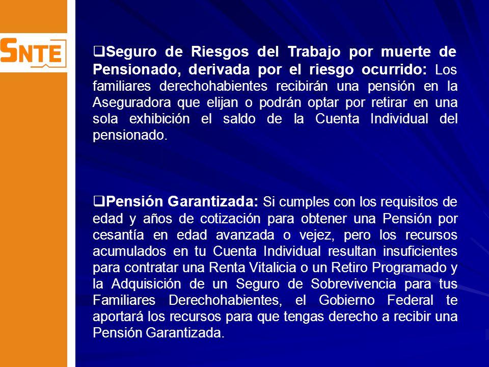Prestaciones Principales: Pensión.Pensión. Aguinaldo.