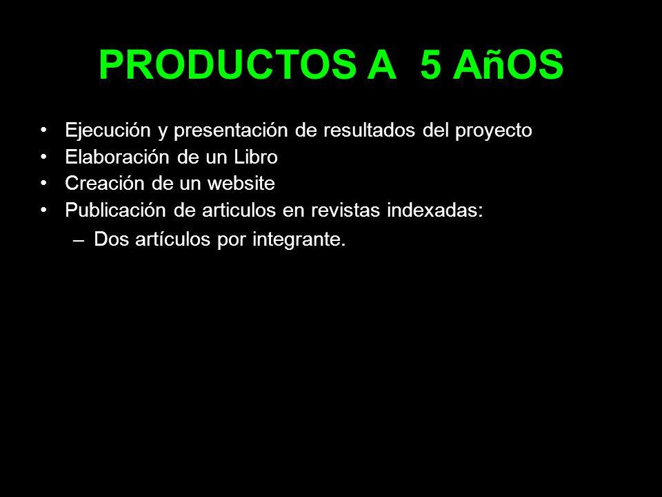 PRODUCTOS A 5 AñOS Ejecución y presentación de resultados del proyecto Elaboración de un Libro Creación de un website Publicación de articulos en revi