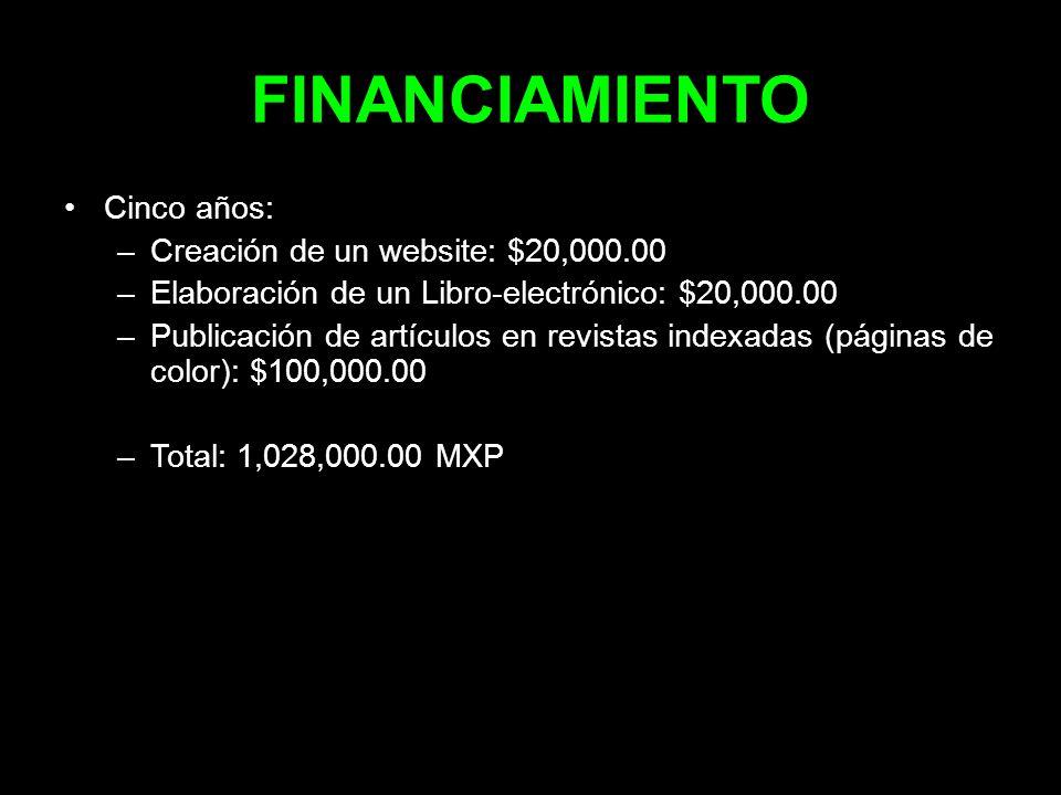 FINANCIAMIENTO Cinco años: –Creación de un website: $20,000.00 –Elaboración de un Libro-electrónico: $20,000.00 –Publicación de artículos en revistas
