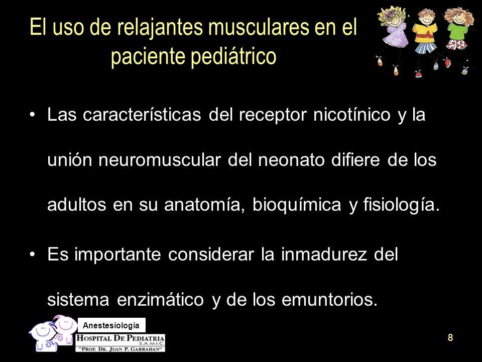 Anestesiologia A lo largo del desarrollo neuromuscular hay un cambio en las propiedades funcionales del receptor ( ritmo de apertura y cierre, afinidad a agonistas y antagonistas) Las corrientes sinápticas, ocurren como resultado de la expresión de la subunidad épsilon, homóloga a una subunidad gamma del embrión.