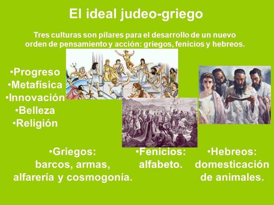 El ideal judeo-griego Tres culturas son pilares para el desarrollo de un nuevo orden de pensamiento y acción: griegos, fenicios y hebreos. Progreso Me