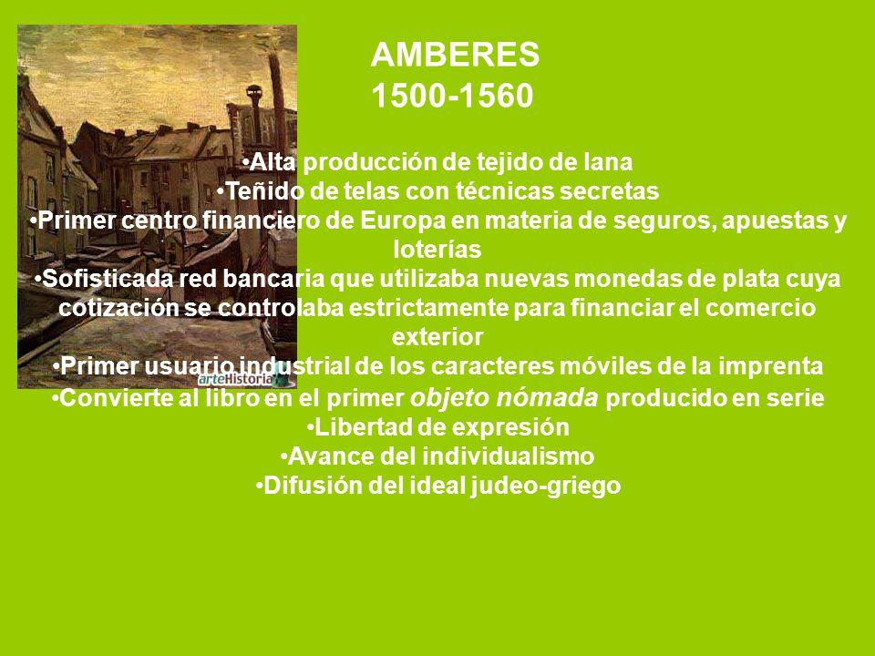 AMBERES 1500-1560 Alta producción de tejido de lana Teñido de telas con técnicas secretas Primer centro financiero de Europa en materia de seguros, ap
