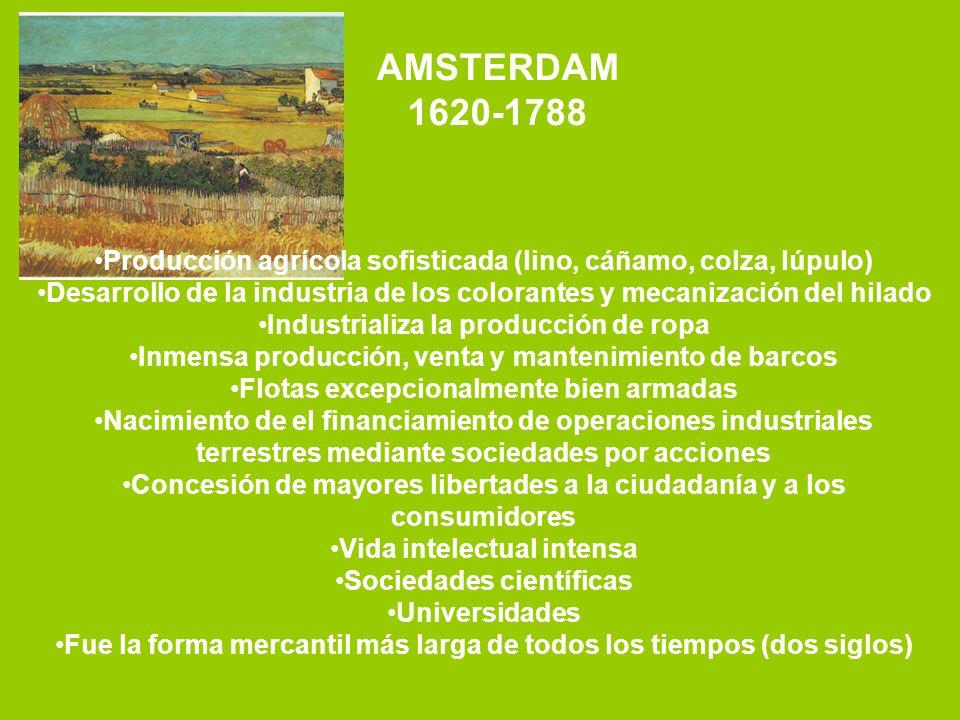 AMSTERDAM 1620-1788 Producción agrícola sofisticada (lino, cáñamo, colza, lúpulo) Desarrollo de la industria de los colorantes y mecanización del hila