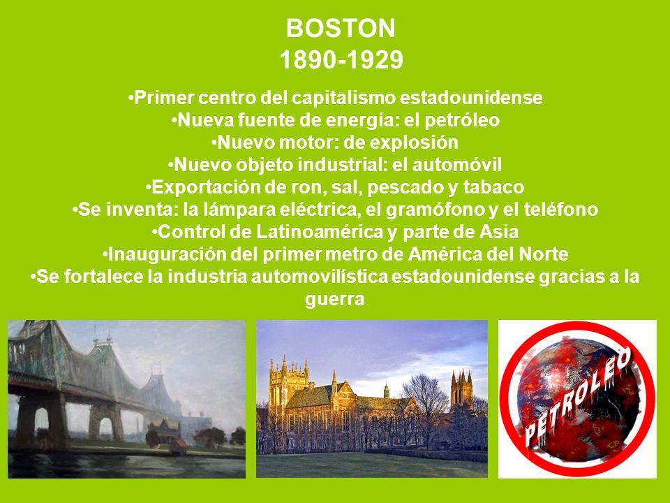 BOSTON 1890-1929 Primer centro del capitalismo estadounidense Nueva fuente de energía: el petróleo Nuevo motor: de explosión Nuevo objeto industrial: