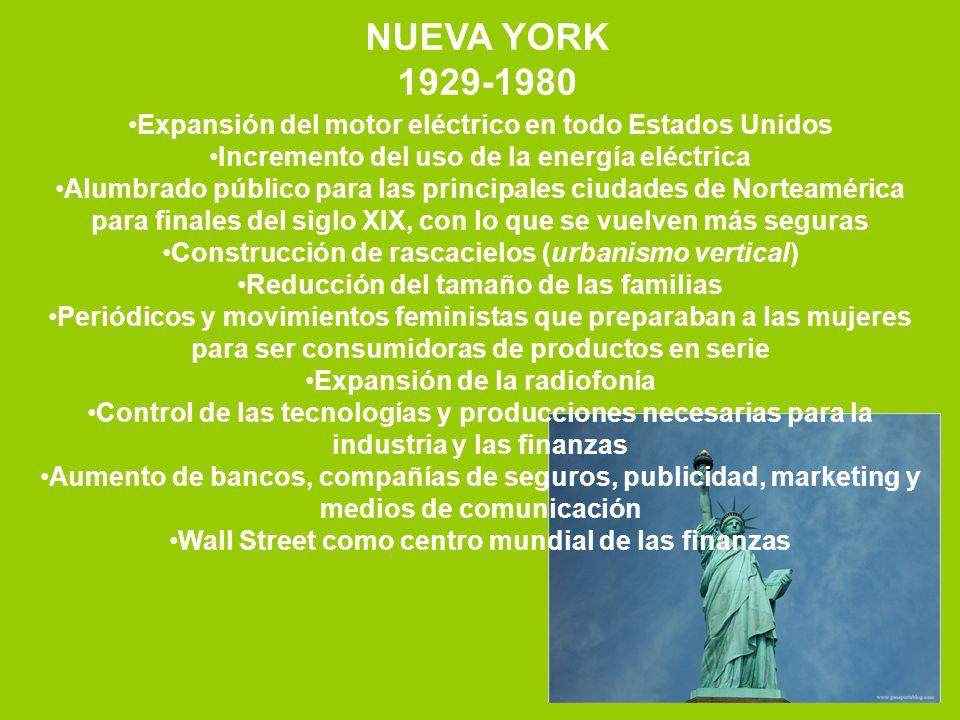 NUEVA YORK 1929-1980 Expansión del motor eléctrico en todo Estados Unidos Incremento del uso de la energía eléctrica Alumbrado público para las princi