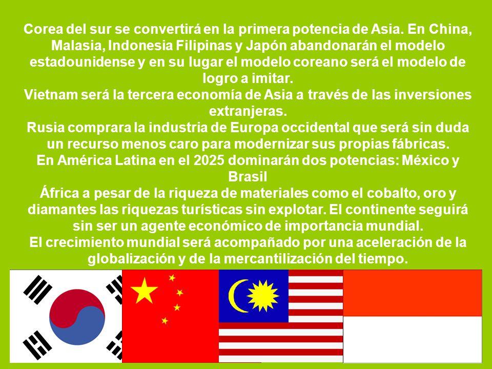 Corea del sur se convertirá en la primera potencia de Asia. En China, Malasia, Indonesia Filipinas y Japón abandonarán el modelo estadounidense y en s