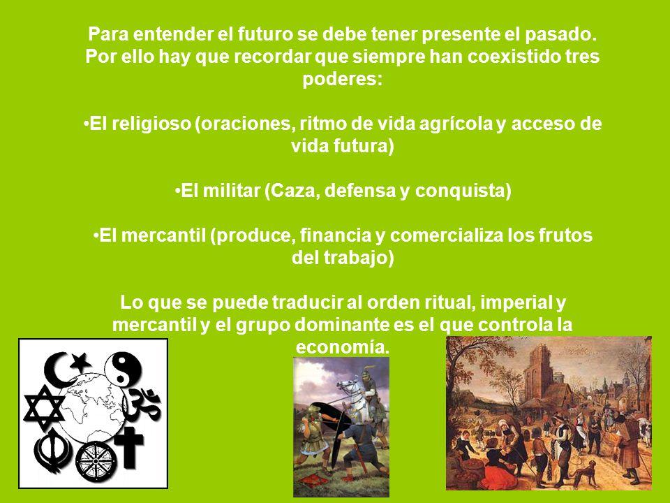 Para entender el futuro se debe tener presente el pasado. Por ello hay que recordar que siempre han coexistido tres poderes: El religioso (oraciones,