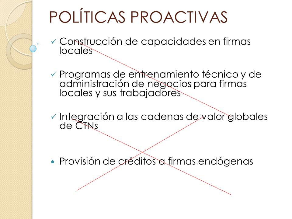 POLÍTICAS PROACTIVAS Construcción de capacidades en firmas locales Programas de entrenamiento técnico y de administración de negocios para firmas loca