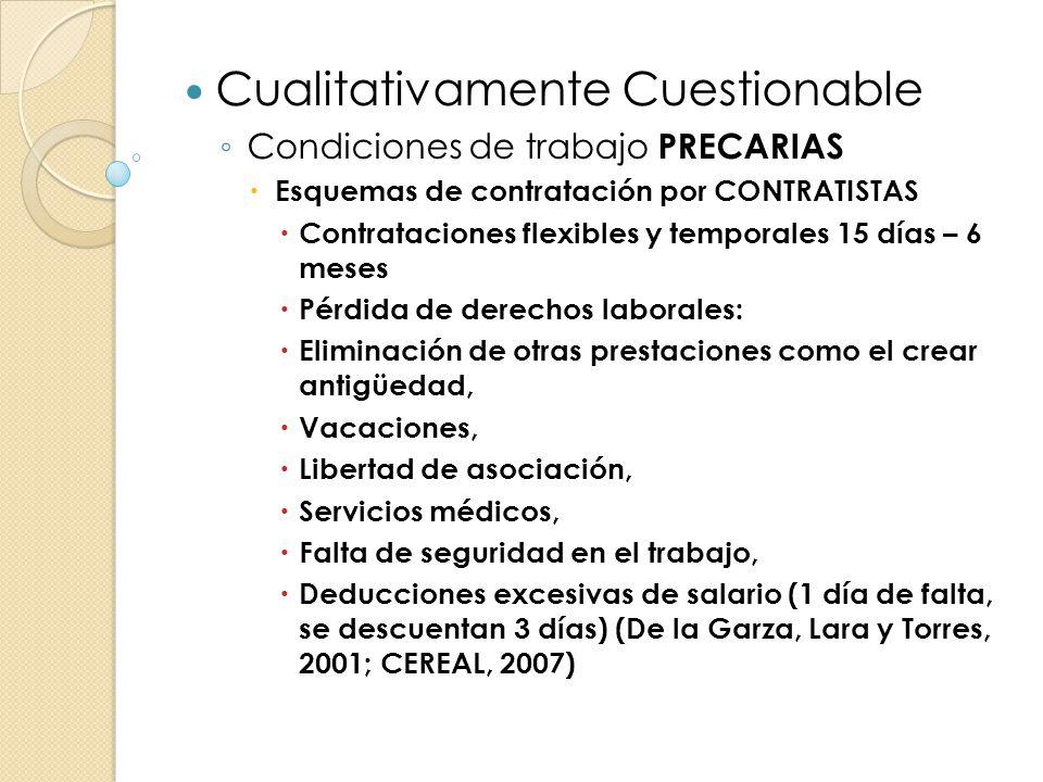 Cualitativamente Cuestionable Condiciones de trabajo PRECARIAS Esquemas de contratación por CONTRATISTAS Contrataciones flexibles y temporales 15 días