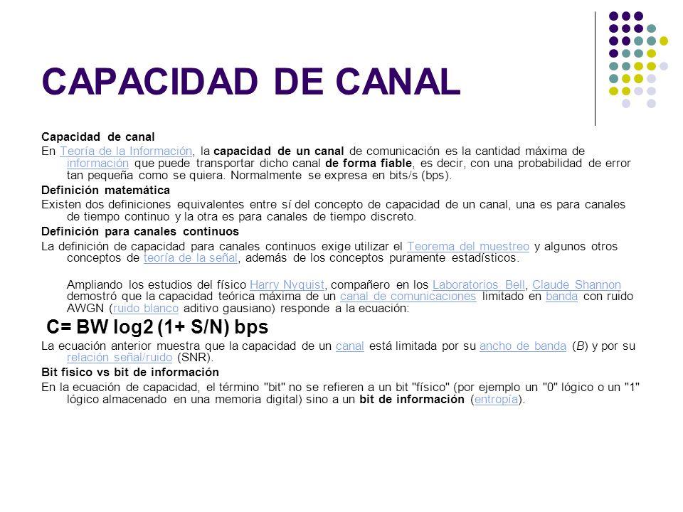 CAPACIDAD DE CANAL Capacidad de canal En Teoría de la Información, la capacidad de un canal de comunicación es la cantidad máxima de información que puede transportar dicho canal de forma fiable, es decir, con una probabilidad de error tan pequeña como se quiera.