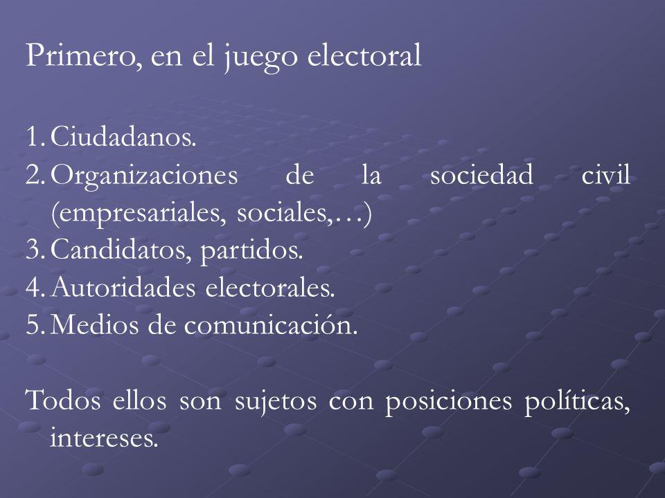 Primero, en el juego electoral 1.Ciudadanos.