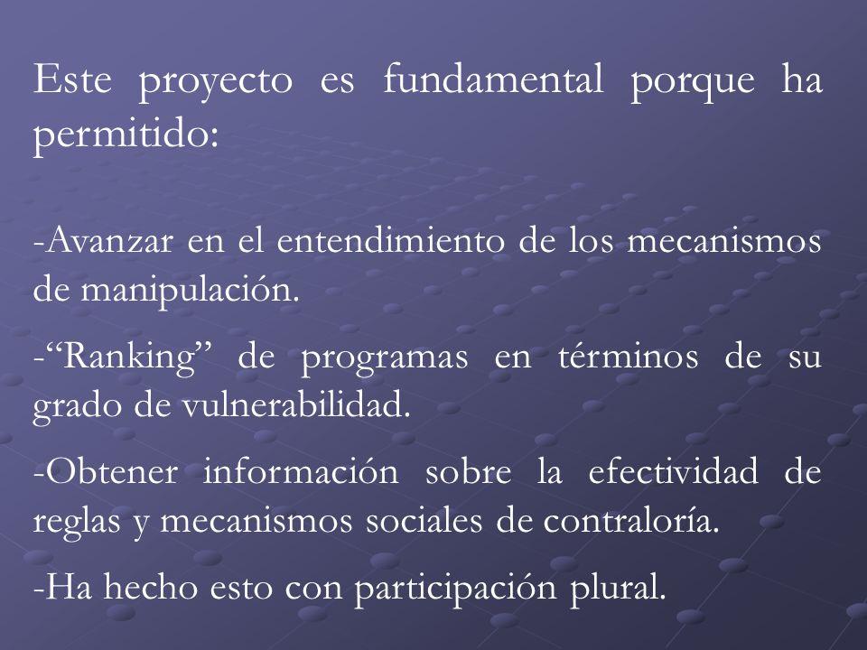Este proyecto es fundamental porque ha permitido: -Avanzar en el entendimiento de los mecanismos de manipulación.