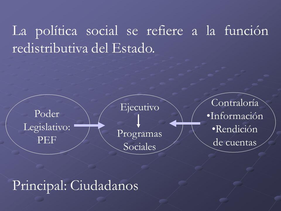 La política social se refiere a la función redistributiva del Estado.