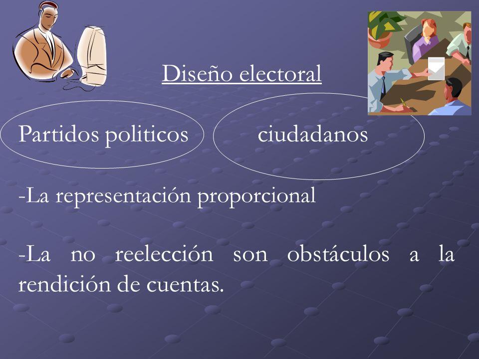 Diseño electoral Partidos politicosciudadanos - La representación proporcional -La no reelección son obstáculos a la rendición de cuentas.