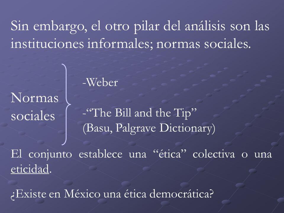 Sin embargo, el otro pilar del análisis son las instituciones informales; normas sociales.
