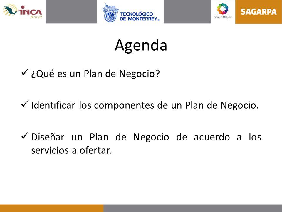 Agenda ¿Qué es un Plan de Negocio? Identificar los componentes de un Plan de Negocio. Diseñar un Plan de Negocio de acuerdo a los servicios a ofertar.