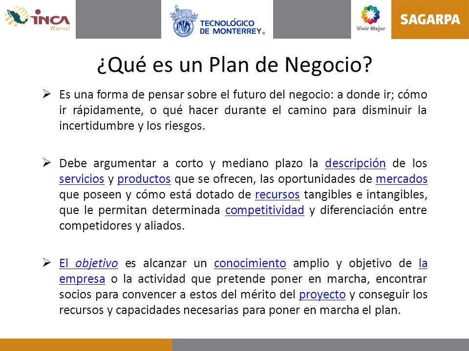 ¿Qué es un Plan de Negocio? Es una forma de pensar sobre el futuro del negocio: a donde ir; cómo ir rápidamente, o qué hacer durante el camino para di
