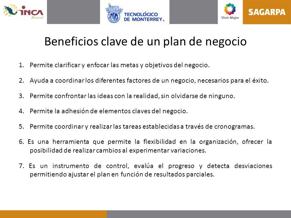 Beneficios clave de un plan de negocio 1.Permite clarificar y enfocar las metas y objetivos del negocio. 2. Ayuda a coordinar los diferentes factores