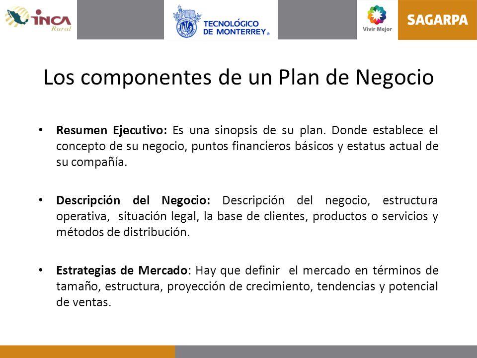 Los componentes de un Plan de Negocio Resumen Ejecutivo: Es una sinopsis de su plan. Donde establece el concepto de su negocio, puntos financieros bás