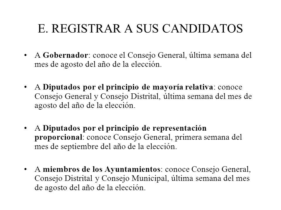 E. REGISTRAR A SUS CANDIDATOS A Gobernador: conoce el Consejo General, última semana del mes de agosto del año de la elección. A Diputados por el prin