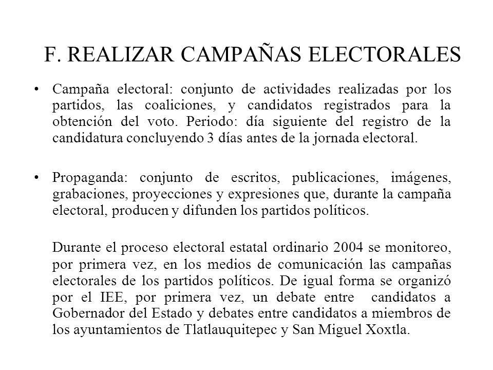 F. REALIZAR CAMPAÑAS ELECTORALES Campaña electoral: conjunto de actividades realizadas por los partidos, las coaliciones, y candidatos registrados par