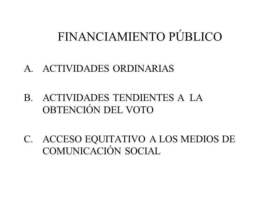 FINANCIAMIENTO PÚBLICO A.ACTIVIDADES ORDINARIAS B.ACTIVIDADES TENDIENTES A LA OBTENCIÓN DEL VOTO C.ACCESO EQUITATIVO A LOS MEDIOS DE COMUNICACIÓN SOCI