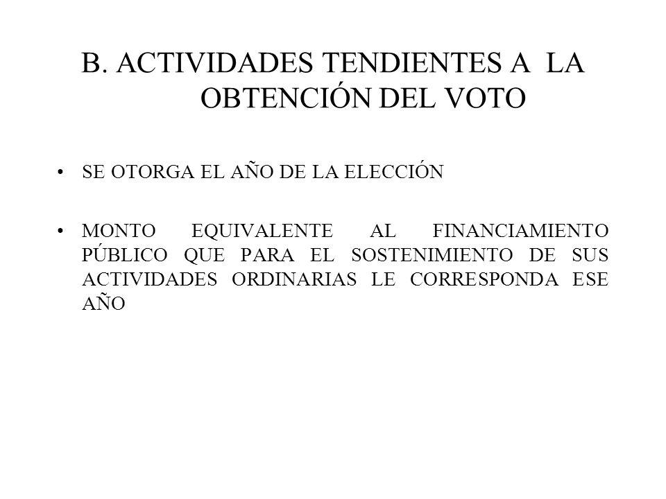 B. ACTIVIDADES TENDIENTES A LA OBTENCIÓN DEL VOTO SE OTORGA EL AÑO DE LA ELECCIÓN MONTO EQUIVALENTE AL FINANCIAMIENTO PÚBLICO QUE PARA EL SOSTENIMIENT