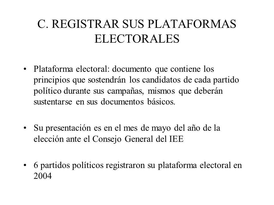 C. REGISTRAR SUS PLATAFORMAS ELECTORALES Plataforma electoral: documento que contiene los principios que sostendrán los candidatos de cada partido pol