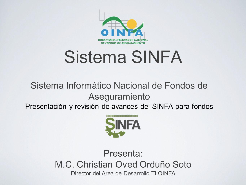 Sistema SINFA Sistema Informático Nacional de Fondos de Aseguramiento Presentación y revisión de avances del SINFA para fondos Presenta: M.C. Christia