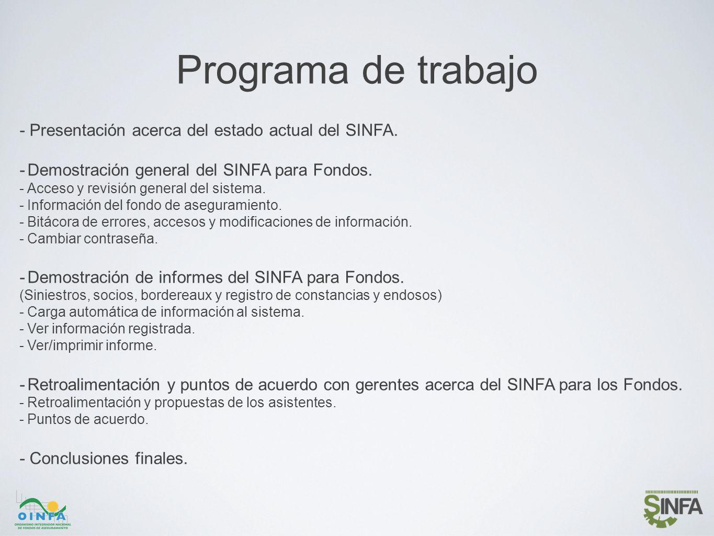 Programa de trabajo - Presentación acerca del estado actual del SINFA. -Demostración general del SINFA para Fondos. -Acceso y revisión general del sis