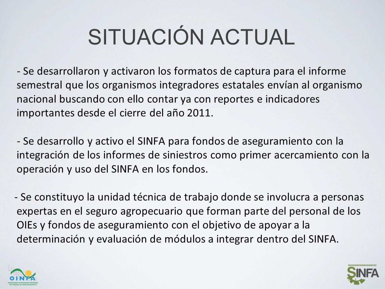SITUACIÓN ACTUAL - Se desarrollaron y activaron los formatos de captura para el informe semestral que los organismos integradores estatales envían al